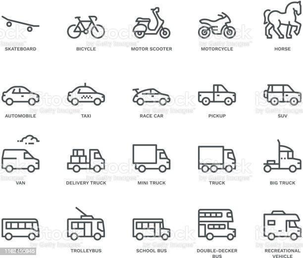 Road Transport Iconsside View Monoline Concept - Arte vetorial de stock e mais imagens de Animal