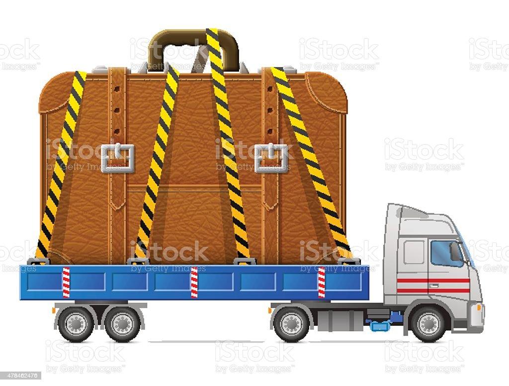 Road transportation of suitcase vector art illustration