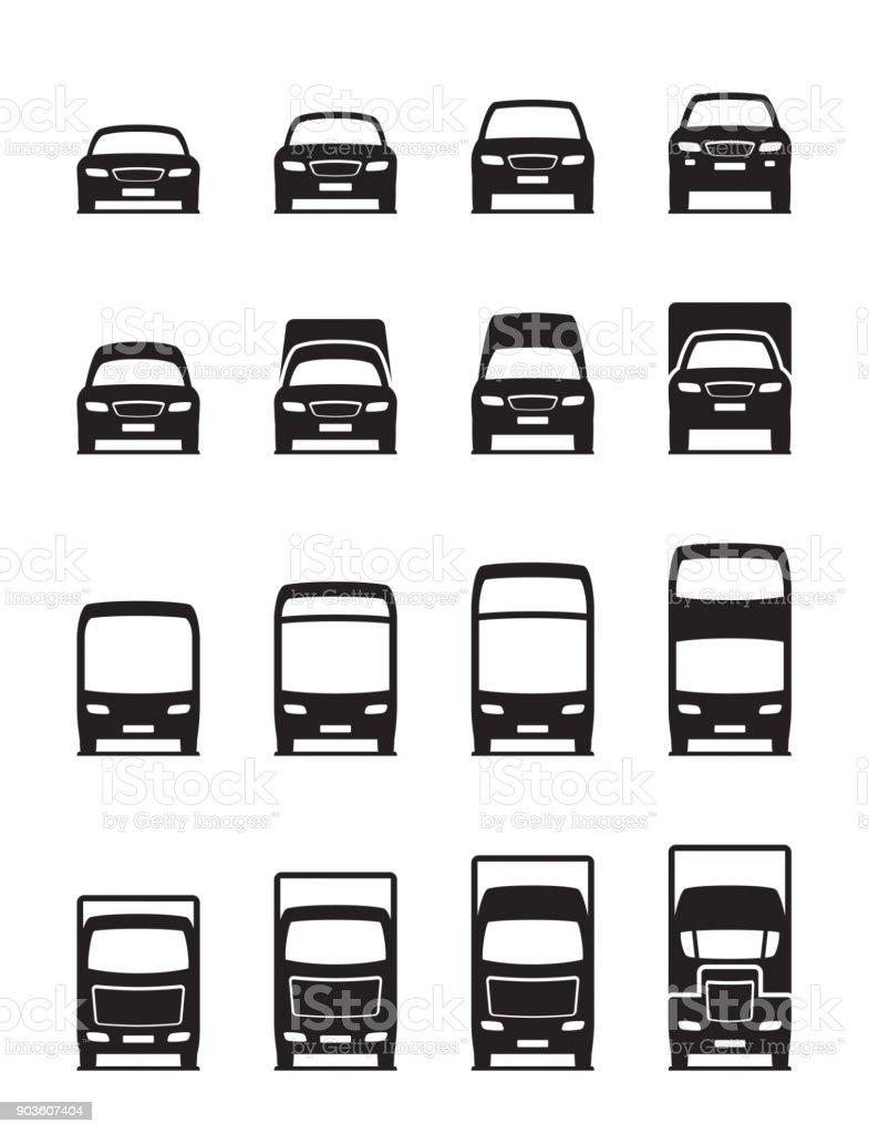Road transportation vehicles in front vector art illustration