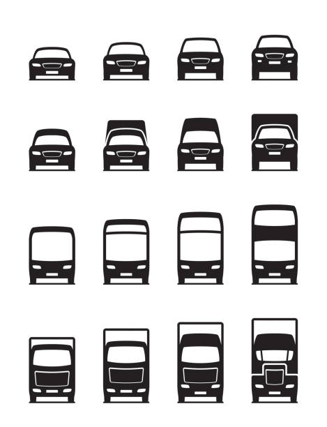 Road transportation vehicles in front Road transportation vehicles in front - vector illustration front view stock illustrations