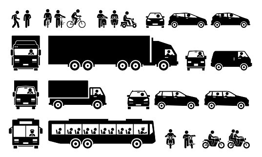 Road transports and transportation icons.