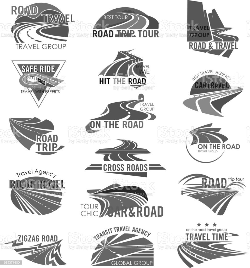Road travel company or agency vector icons set road travel company or agency vector icons set - arte vetorial de stock e mais imagens de alfalto royalty-free