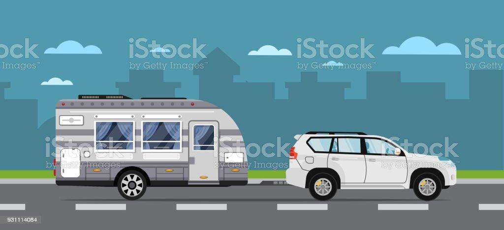 Yol seyahat poster suv araba ve karavan - Royalty-free Araba - Motorlu Taşıt Vector Art