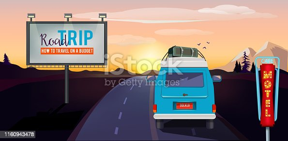 Road trip. Adventure on the road in car summer vacation urban landscape vector cartoon background