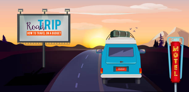 road trip. adventure on the road in car summer vacation urban landscape vector background - road trip stock illustrations