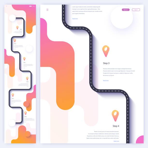 ilustrações, clipart, desenhos animados e ícones de road trip e viagem rota homepage conceito. modelo de página de aterrissagem mínima - ilustrações de destinos de viagens