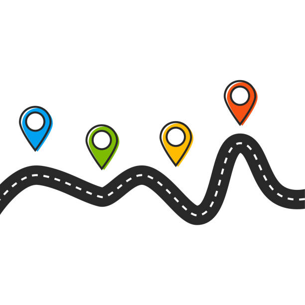road trip and journey route. road vector map - road trip stock illustrations