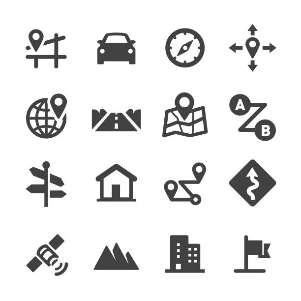 road trip i ikony nawigacji - seria acme - przewóz stock illustrations