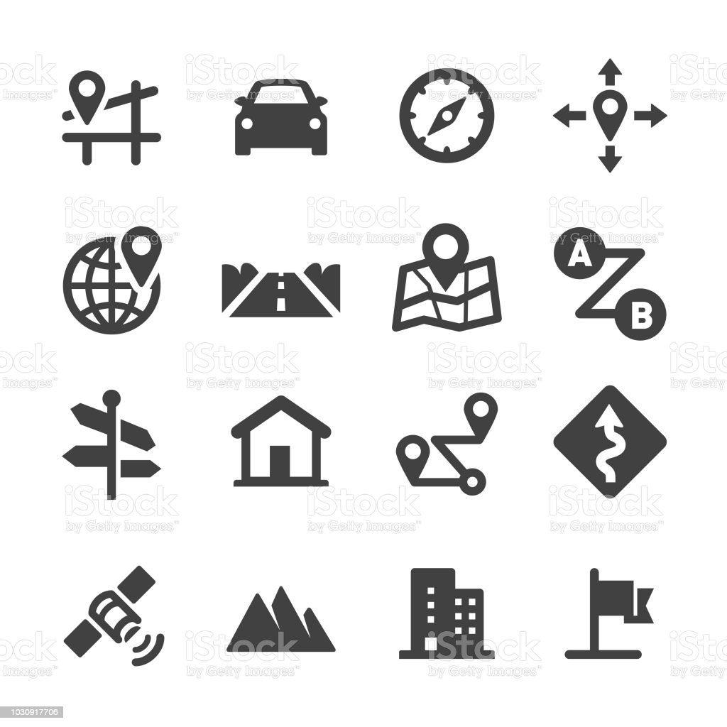 Voyage sur la route et les icônes de Navigation - Acme série - Illustration vectorielle