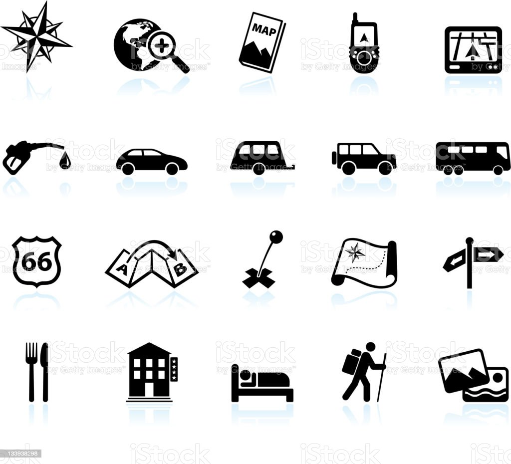 Road trip and travel black & white vector icon set vector art illustration