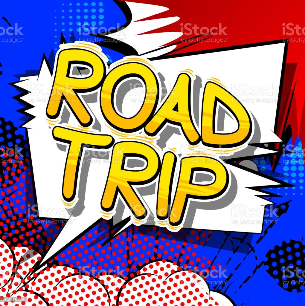 road trip comic book style words stock vector art more images of