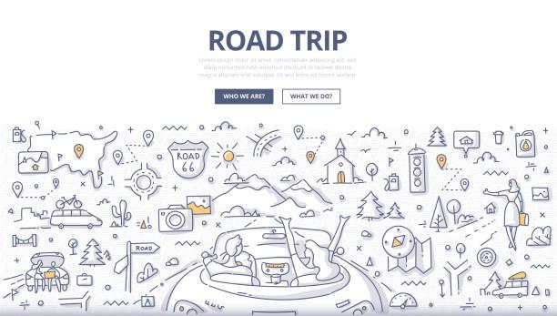 road trip doodle concept - road trip stock illustrations