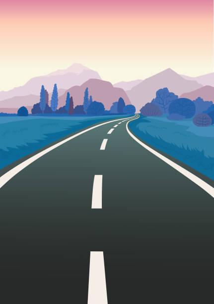road trip flat hand drawn vector illustration - road trip stock illustrations