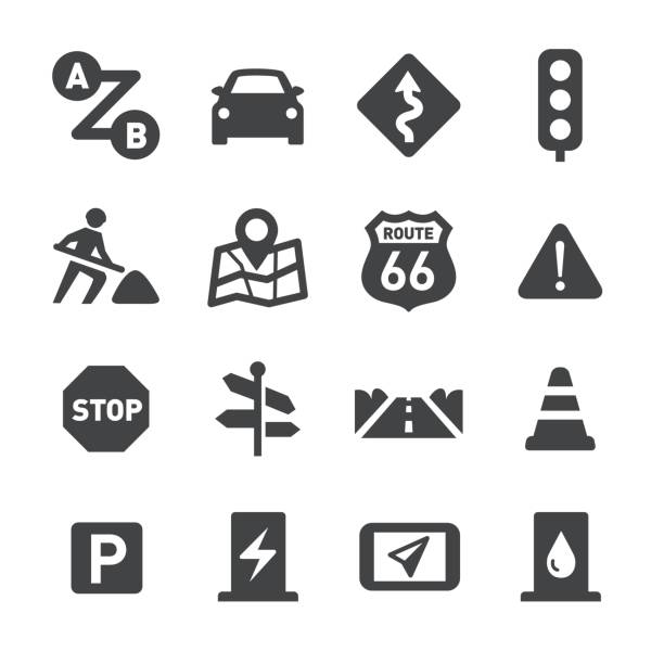 road trip icons - acme series - car stock illustrations