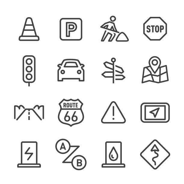 stockillustraties, clipart, cartoons en iconen met road trip icons - line serie - stopbord