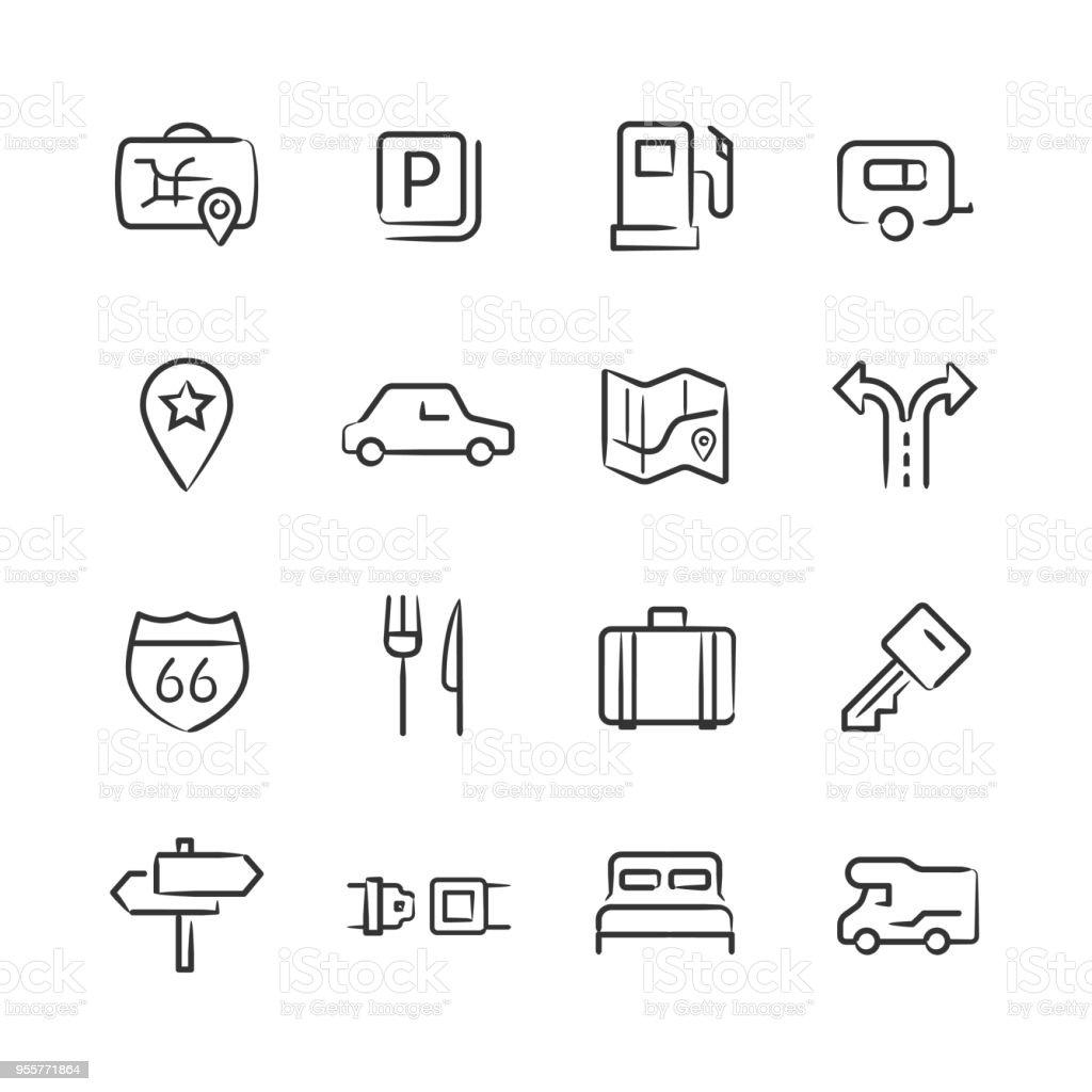 Road Trip Icons — Sketchy Series vector art illustration
