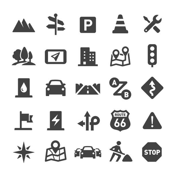 Road Trip Icons - Smart Series Road Trip, travel, electric vehicle charging station stock illustrations