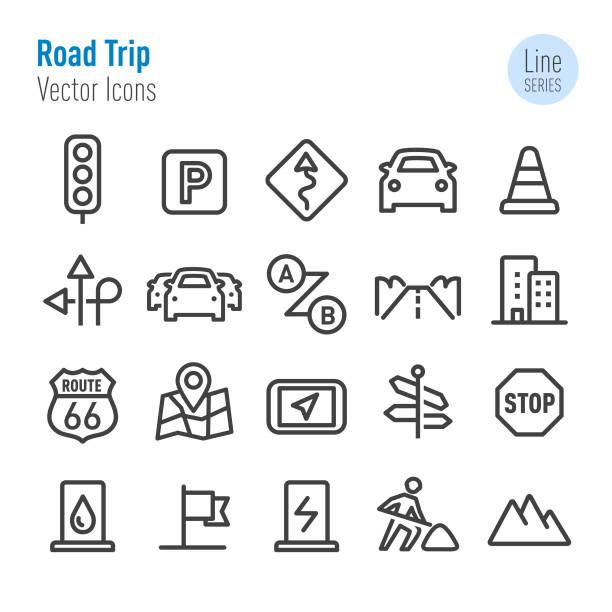 公路旅行圖示-向量線系列 - traffic 幅插畫檔、美工圖案、卡通及圖標