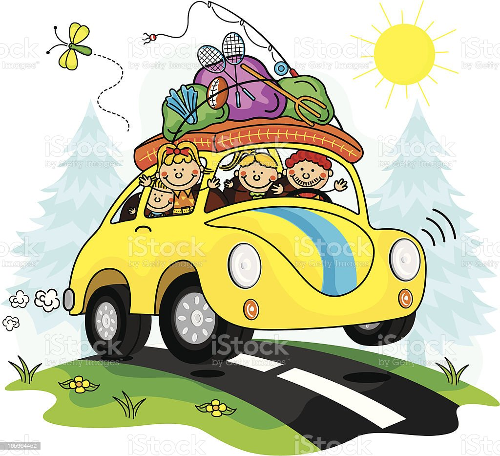 royalty free drawing of a road trip family clip art vector images rh istockphoto com family trip clipart family vacation clip art free