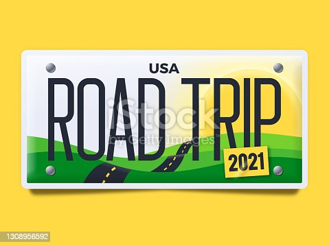 istock Road Trip License Plate 1308956592