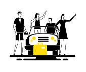 Road trip - modern flat design style illustration