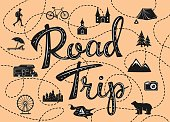road trip poster with a stylized map with points of interest