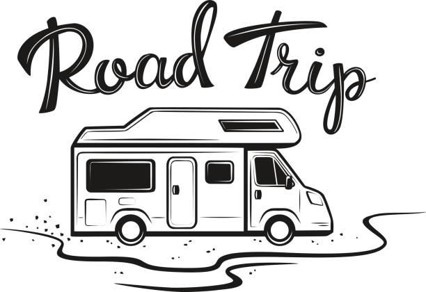 stockillustraties, clipart, cartoons en iconen met road trip poster met de camper onderweg naar vakantie in zwarte kleur met handgeschreven tekst - caravan