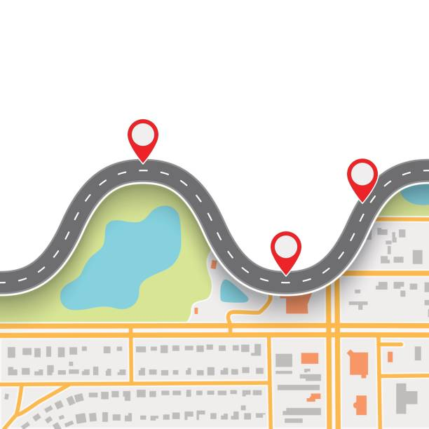road trip route. winding road on gps navigation abstract map - journey vector stock illustrations, clip art, cartoons, & icons