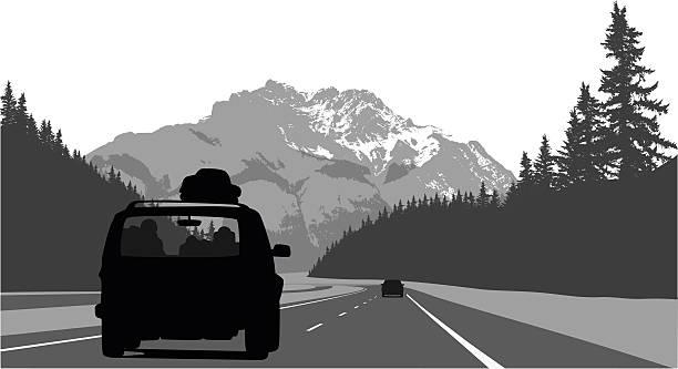 поездка через горы - road trip stock illustrations
