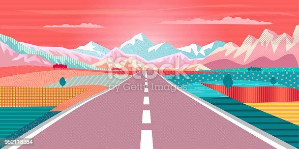 Road trip to rocky mountains exotic paradise landscape, rural fields, rugged mountains, campgrounds. Summer sunset sky painting poster. Adventure in Nature, Traveling, Voyage, vector illustration, flat design,