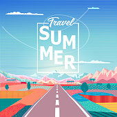 Road trip to rocky mountains landscape. Summer Travel lettering. Rural fields, rugged mountains, airplane, campgrounds. Summer Sunny sky painting poster. Adventure in Nature, Traveling, Voyage, vector illustration, flat design Pop Art wallpaper