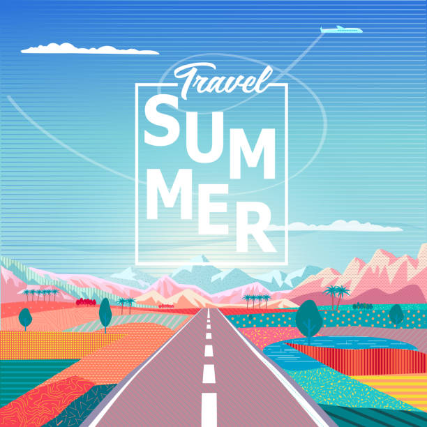road trip to rocky mountains exotic landscape, summer travel - adventure in nature - road trip stock illustrations