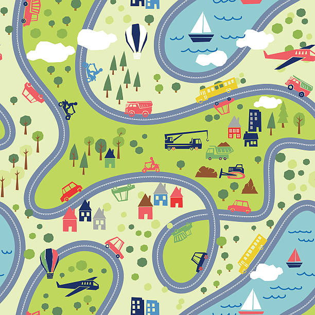 поездка на океан и сзади бесшовный узор - road trip stock illustrations