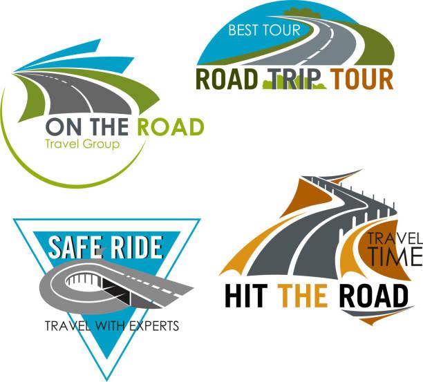 ilustraciones, imágenes clip art, dibujos animados e iconos de stock de road trip tour and travel vector icons set - señalización vial