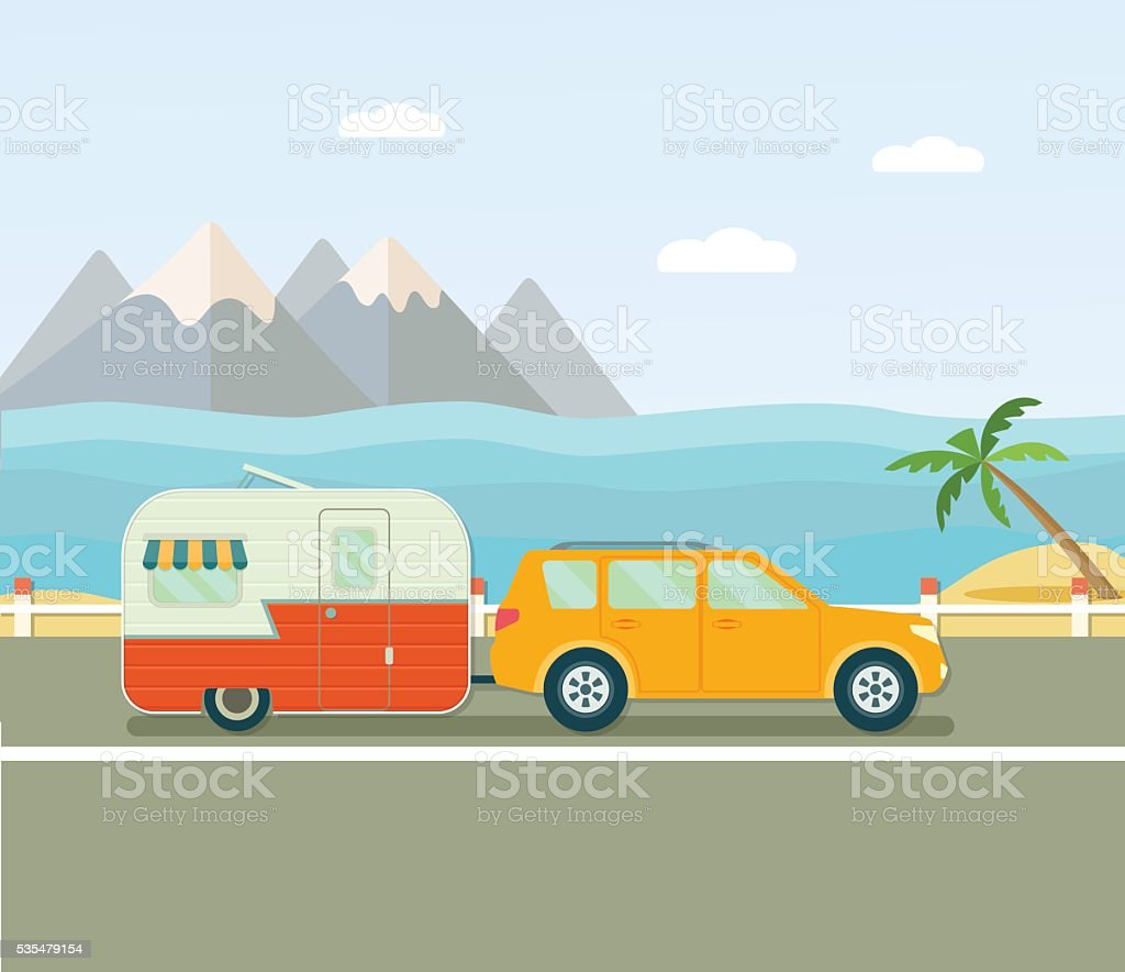 Viaje Por Carretera Caravana Y Automóvil Plano Ilustración De ...
