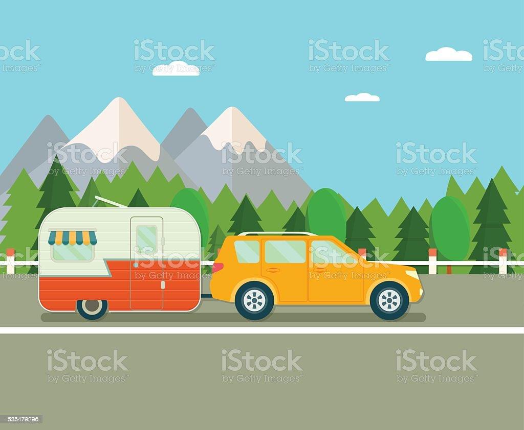 Viaje por carretera. Caravana y vehículo deportivo utilitario (suv). Plano ilustración de vectores - ilustración de arte vectorial