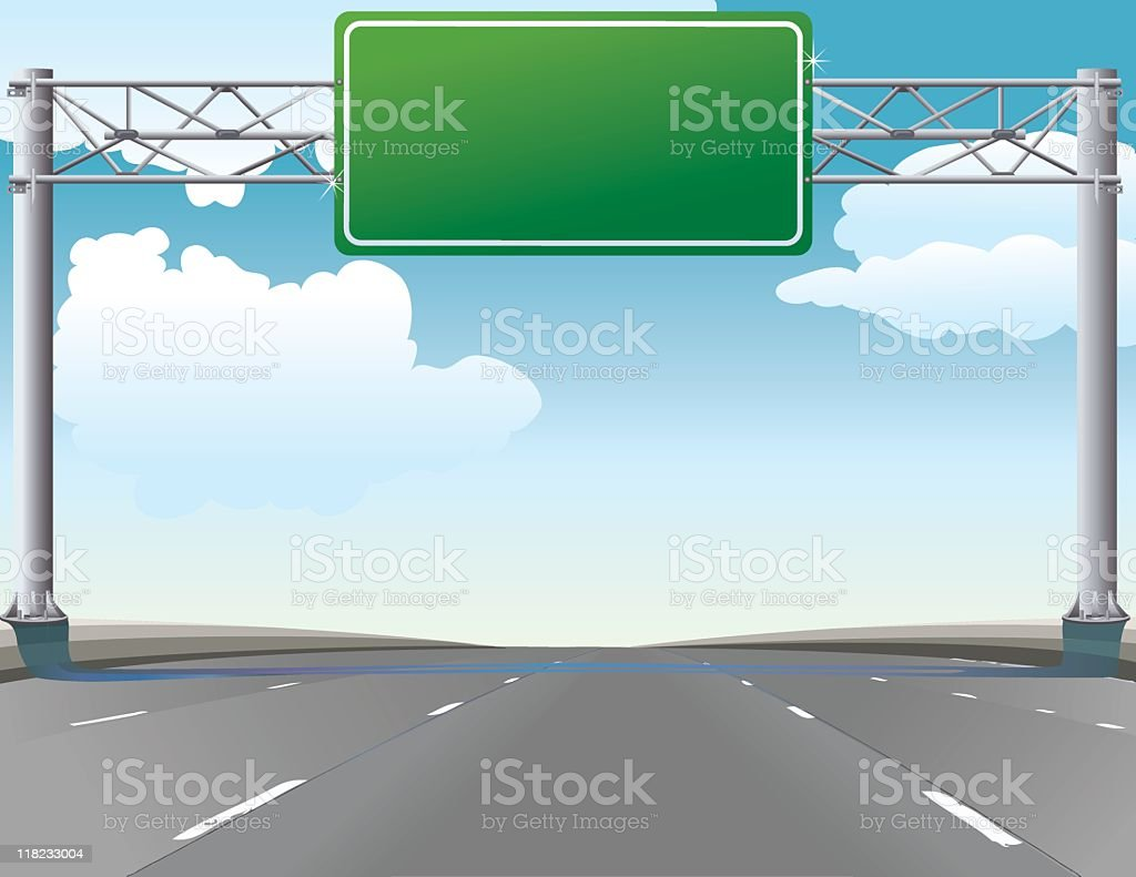 Road Trip - Typical Highway Freeway Green Overhead Sign vector art illustration