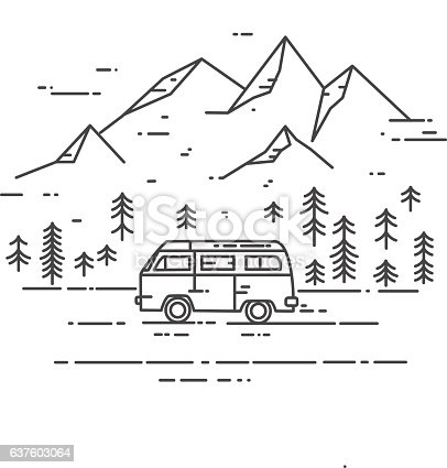Road trip vector flat line illustration. Minivan with mountain landscape. Adventure and Travel concept.