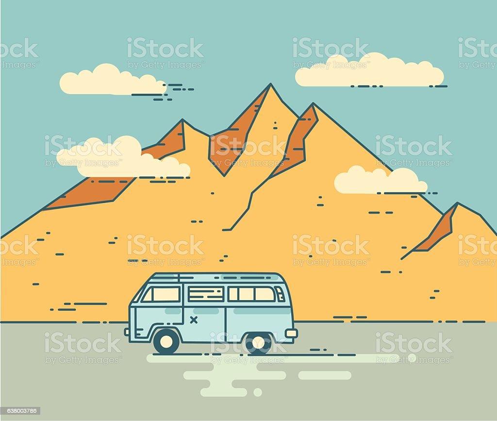 Road trip vector flat line illustration. vector art illustration