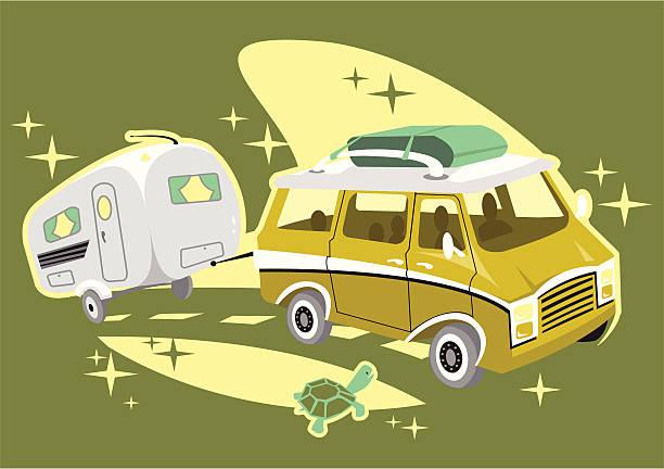 road trip - campinganhänger stock-grafiken, -clipart, -cartoons und -symbole