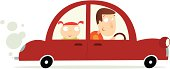 Father and daughter out for a drive. Editable vector file.
