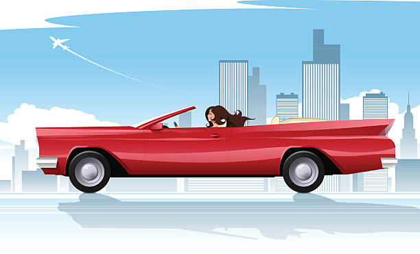 Road trip A young attractive brunette driving her red retro car along the highway. A car with a woman and a background are on the separate layers. convertible stock illustrations