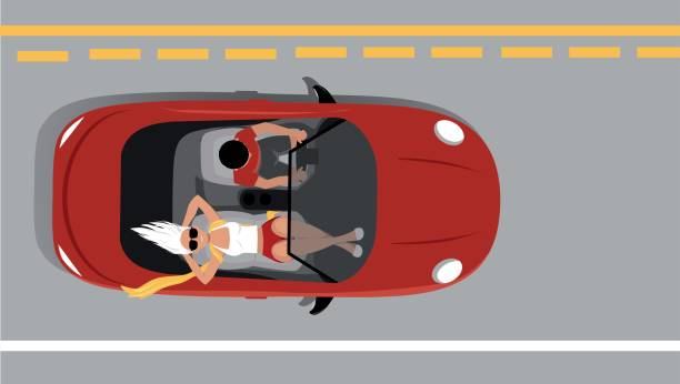road trip - cabrio stock-grafiken, -clipart, -cartoons und -symbole