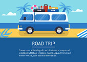 Road trip concept banner.  Flat style vector illustration with text place