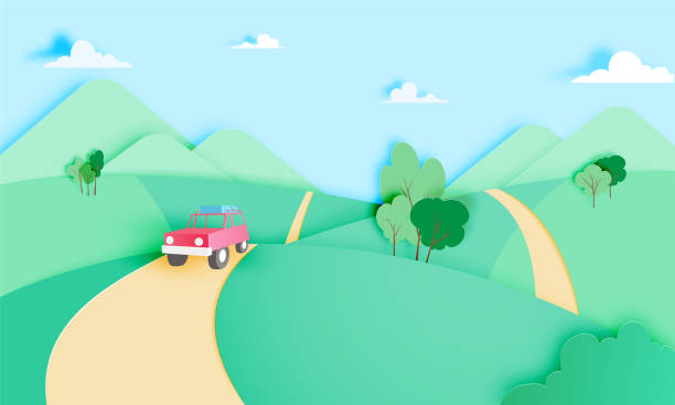 road trip with car and natural pastel color scheme backgroud - road trip stock illustrations