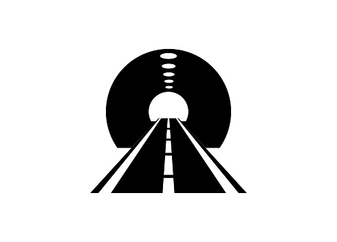 Simple illustration of road tunnel in black and white