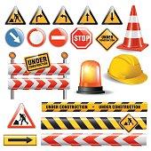 Set of signs and symbols under construction. Vector illustration