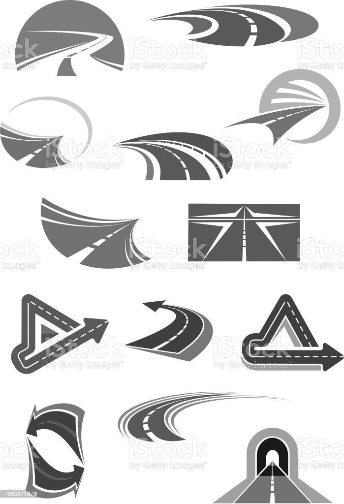Road vector icons of travel, construction company royalty-free road vector icons of travel construction company stock vector art & more images of adventure