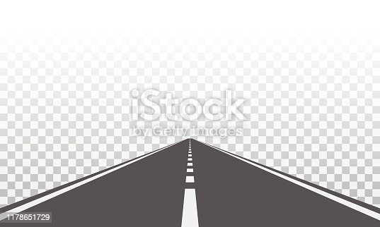 Straight road with white markings. Asphalt highway.