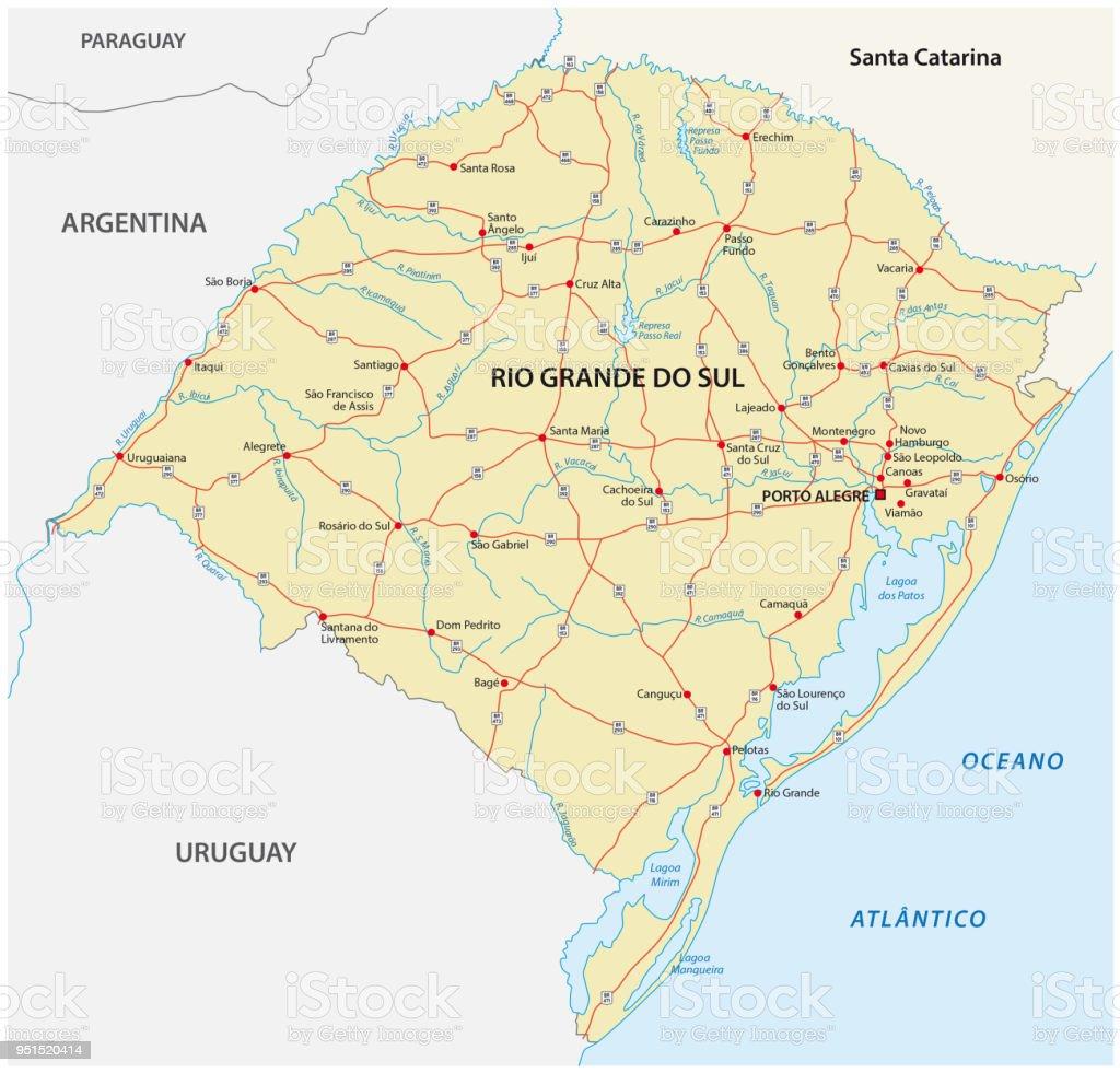 road vector map of the brazilian state rio grande do sul vector art illustration
